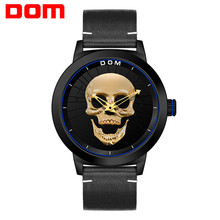 DOM Cool Punk Skull Men Watch Creative Skeleton Luxury Gold Quartz Wristwatches Leather Casual Male Clock Relogio Masculino 2019 dom women watches dom brand luxury new casual waterproof leather dress quartz watch mesh strap clock relogio faminino g 36gk 1ms