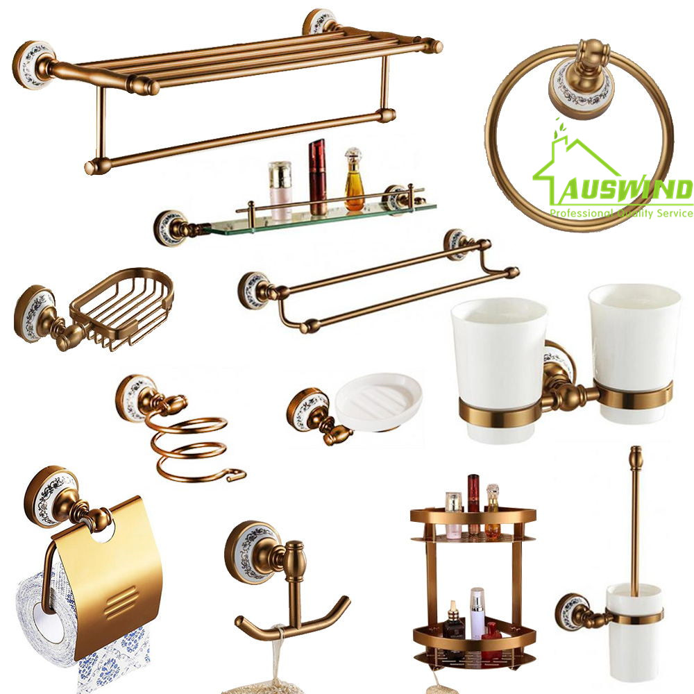 Buy antique brushed aluminum bathroom for Cream bathroom accessories set