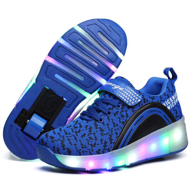 Kids Glowing Sneakers Sneakers with wheels Led Light up Roller Skates Sport Luminous Lighted Shoes for Kids Boys Pink|Sneakers|   - title=