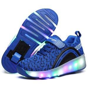 Image 1 - ילדים זוהר סניקרס סניקרס עם גלגלי Led אור עד רולר גלגיליות ספורט זוהר מואר נעליים לילדים בני ורוד