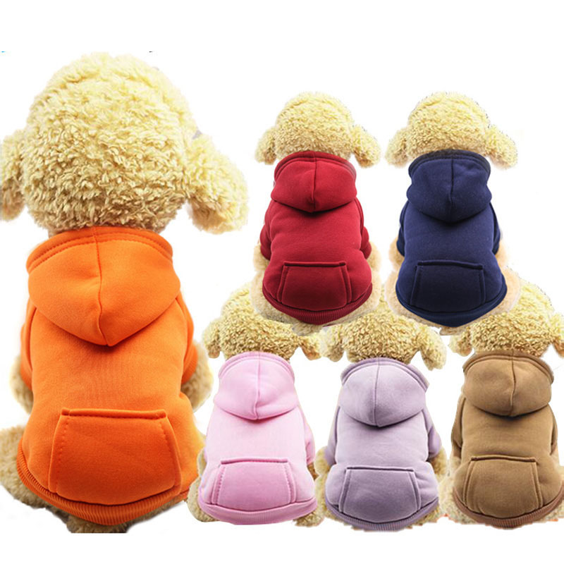XS-2XL Warm Pet Dog Hoodie Puppy Autumn Winter Sweaters Clothes Coat Jacket Small Dogs Chihuahua Cats Clothing Hooded