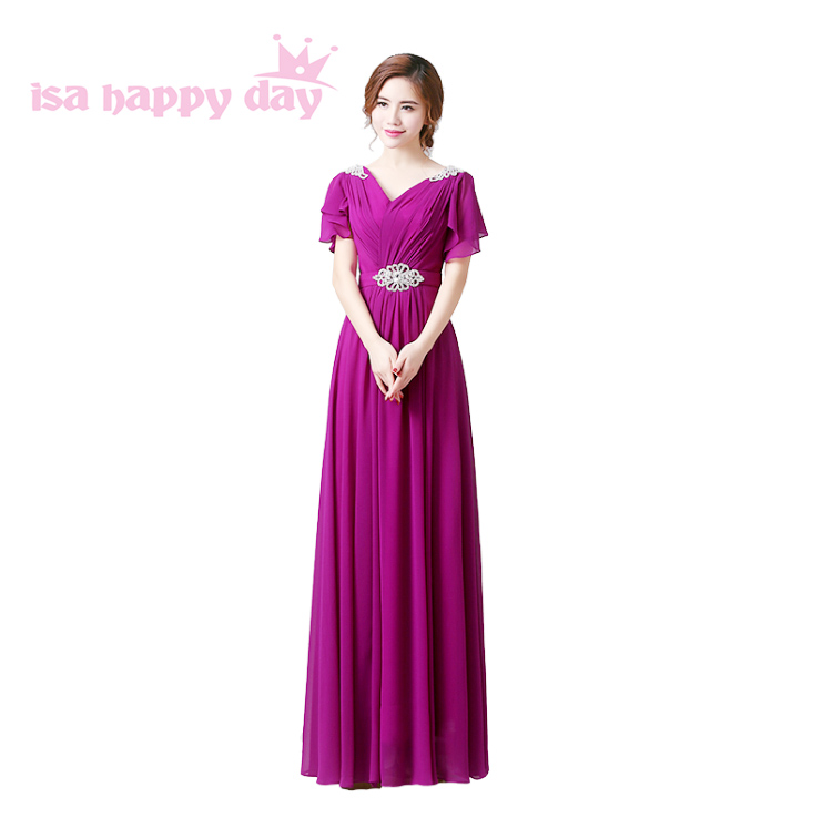 2018 New Arrival Womens Purple Chiffon V Neck Dress For Party Long