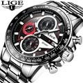 LIGE Модные Кварцевые спортивные часы для мужчин бизнес полный сталь мужские часы, наручные часы лучший бренд класса люкс водонепроницаемые ...