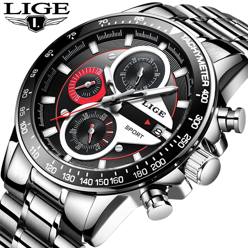 LIGE Fashion Quartz Sport Watch Men Business Full Steel Clock Mens Watches Top Brand Luxury Waterproof Watch Relogio Masculino lige mens watches top brand luxury fashion business quartz watch men sport full steel waterproof clock man box relogio masculino