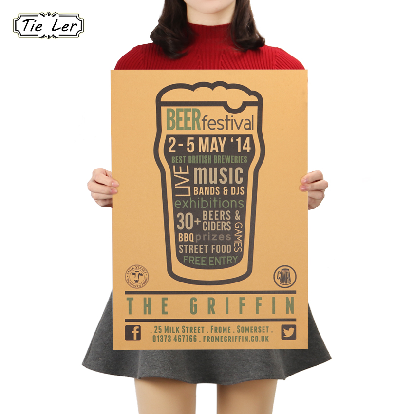 TIE LER Beer Vintage Alcohol Beverage Poster for Home Kitchen Music Party Retro Poster Decor Wall Sticker 51X36cm