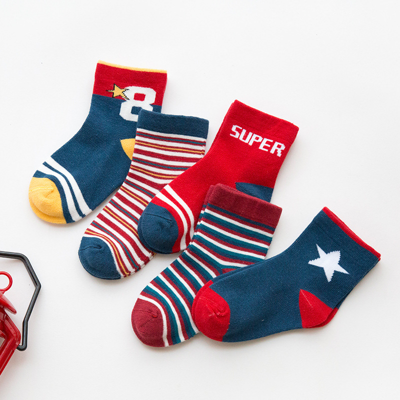 5 Pairs Cartoon Baby Socks Spring Autumn Children Sock Stripes Cotton Kid Socks For Boys Girls Socks For 1-12 Year