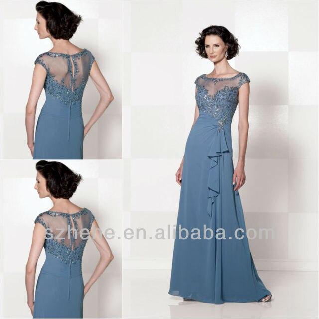 7b70266216 Free shipping CW1627 Elegant cap sleeve beaded cornflower blue tall mother  of the bride dresses