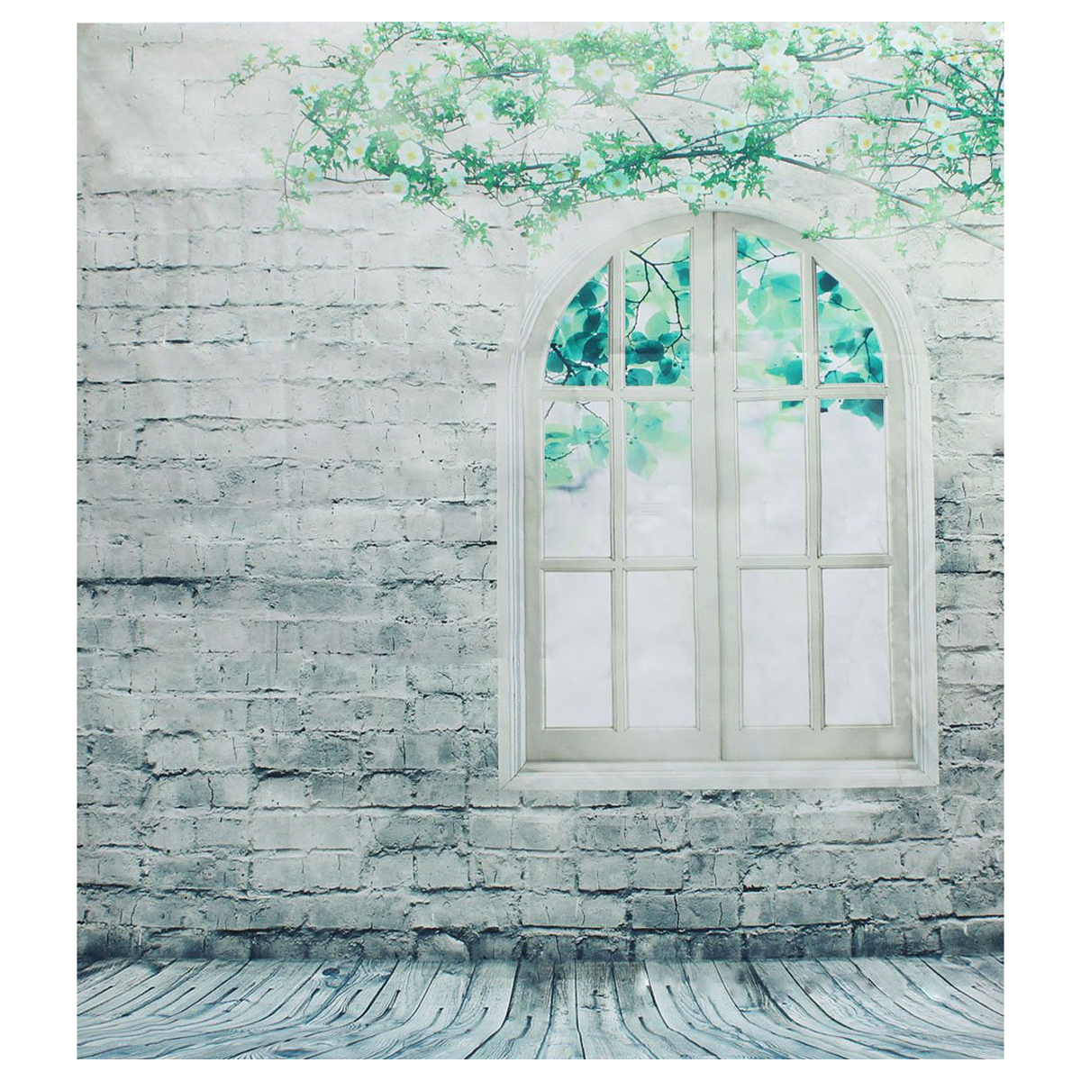 ETC 2*1.5m Window Tree Brick Wall Studio Photography Prop Backdrops Photo Background