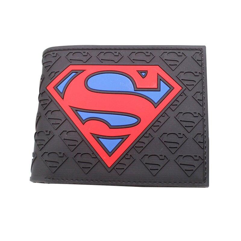 100% QualitäT Neuheit Designs Superman Geldbörsen Pvc Präge Logo Kurzen Geldbörse Mit Kartenhalter Anime Cartoon Super Hero Männer Frauen Geschenk Brieftasche