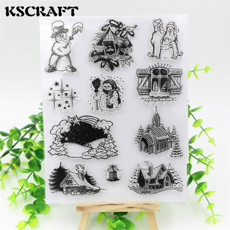 Merry Christams Travelling Transparent Clear Silicone Stamp/Seal for DIY scrapbooking/photo album Decorative clear stamp sheets kscraft love travelling transparent clear silicone stamp seal for diy scrapbooking photo album decorative clear stamp sheets
