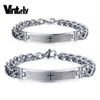 Brand Design Couple Bracelets For Women Men Stainless Steel Charm Jewerly Lover S Wristband Cross ID