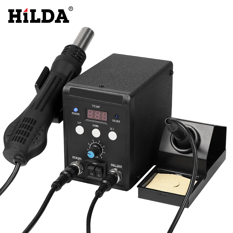 цена на HILDA 220V 700W 8586 Lead-Free Soldering Station BGA Rework SMD Hot Air Gun Heat Eletric Soldering Iron Kit Tool Welding Tip