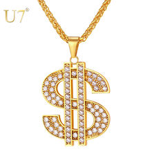 U7 Доллар Ожерелье & Подвеска Стальный/Позолоченный Цепь Для