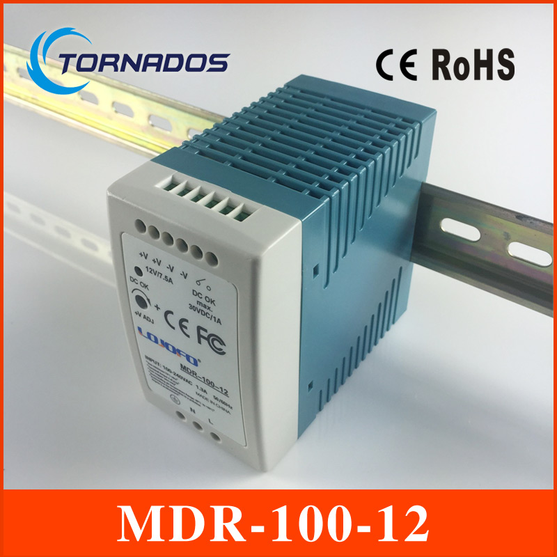 MDR-100-12 Industrial DIN rail Mini switching power supply for LED driver 12v 7.5A 90W AC85-264V to DC 12V best quality 12v 15a 180w switching power supply driver for led strip ac 100 240v input to dc 12v