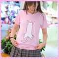 Girls Lolita Cute Cat Pink T shirt Anime Love Live Nico Yazawa Summer Short Sleeve Tee Top