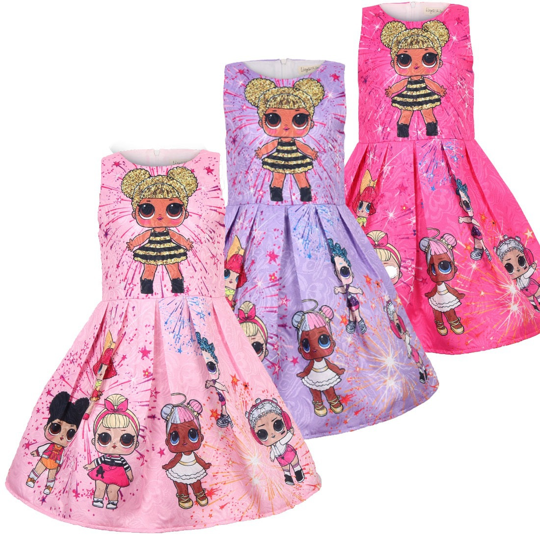 Lol Dolls Baby Dresses 3-9Y Summer Cute Elegant Dress Kids Party Christmas Costumes Children Clothes Princess Lol Girls Dress