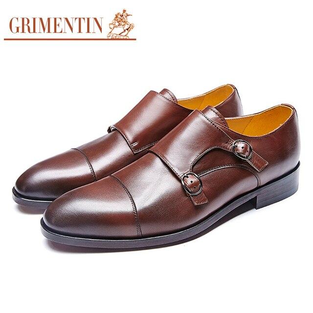f9bea13ad GRIMENTIN marca personalizado dos homens se vestem sapatos de couro genuíno  dupla cinta monge Italiano homens