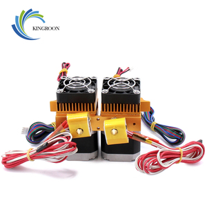 Image 3 - MK8 כפולה ראש מכבש 12V/24V 40W 3D מדפסת חלקי כפול Hotend חול 1.75mm נימה עם מנוע מאוורר חלק