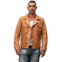 HARLEY DAMSON Yellow Men Slim Fit Genuine Biker's Leather Jacket Plus Size XXXL Genuine Cowhide Short Motorcycle Leather Coat