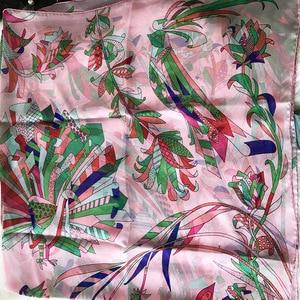 Image 1 - 2018 new style women summer silk scarf flower print large shawl