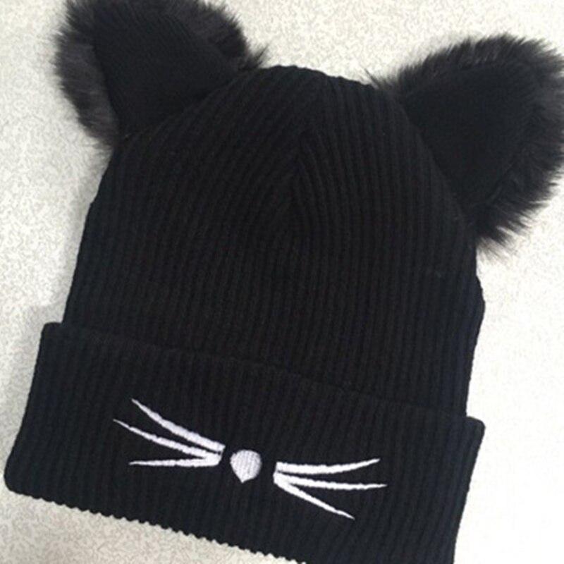 Winter Hat Woman Knitting Ladies Cat Ears Tot Skullies Fur Princess  Princess Bonnet Femme   wo31-in Skullies   Beanies from Apparel Accessories  on ... b36302ad9ee6