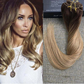 Full Shine 9pcs 120g Thick Clip in Human Hair Extensions Dip Dye Ombre #4#14 Hair Extensions Balayage Clip in Real Hair in Stock