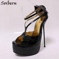Sorbern 18 см открытый носок Женская обувь на платформе тонком металлическом высоком каблуке дамские туфли лодочки каблуке Размер 11 Женская обу