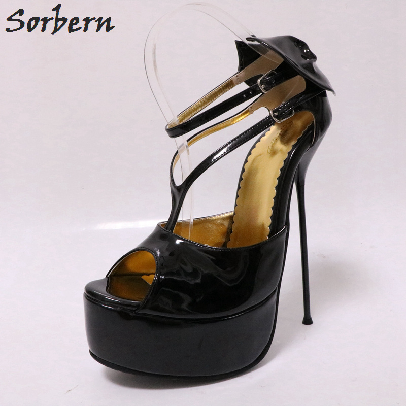 Sorbern 18cm Peep Toe Platform Shoes Women Thin Metal High Heels Ladies Pump Heels Size 11 Women Shoes Fetish Pump Shoes lasyarrow brand shoes women pumps 16cm high heels peep toe platform shoes large size 30 48 ladies gladiator party shoes rm317
