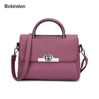 Bokinslon Woman Fashion Bags Popular PU Leather Women Small Square Bags Casual Solid Color Ladies Lock