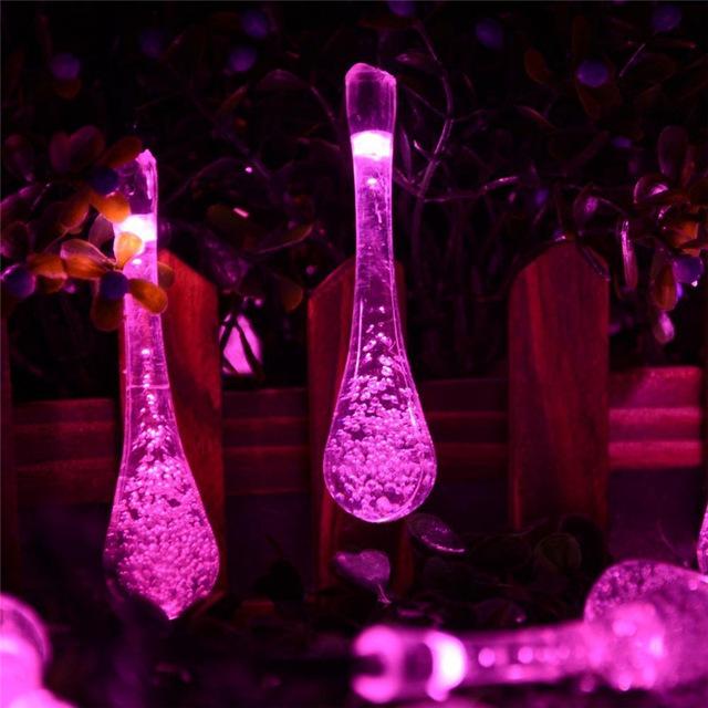 New Solar Lights String 19.7ft 30 LED 8 Modes Water Drop Solar Fairy String Lights For Outdoor Gardens Solar Garden Globes