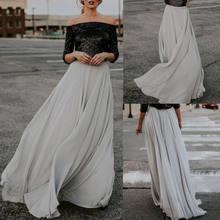 2018 Nouveau Style D été Gris En Mousseline de Soie Jupe Femmes Taille Haute  longue Maxi Jupe D été Dame De Mode Beach Party Soi. 1a1f3ca3bd18