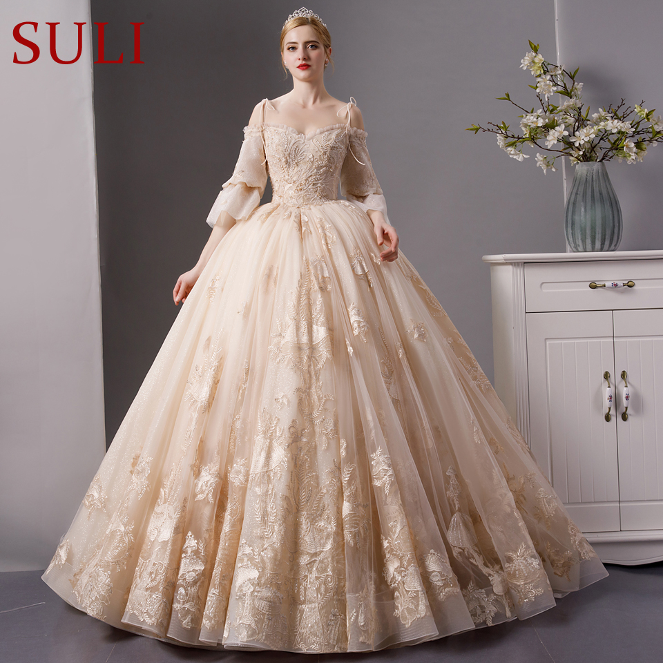 SL-1830 Top quality luxury long train wedding dress champagne color with beading 2019(China)