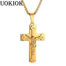 0ffb08a4f5c9 De acero inoxidable de Jesús Cristo Cruz collar de oro colgante para las  mujeres hombres oro crucifijo collar joyería religiosa .