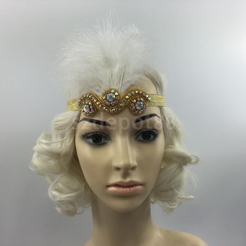 Vintage Feather 1920s Great Gatsby Flapper Diamante Headband Gold White