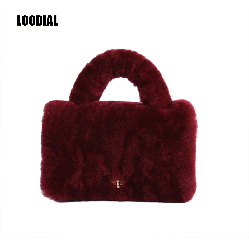 cab8e0842cb2 Loodial 2017 winter new women real fur handbags lamb wool luxury shoulder  bag messenger bags female handbag purse with chain