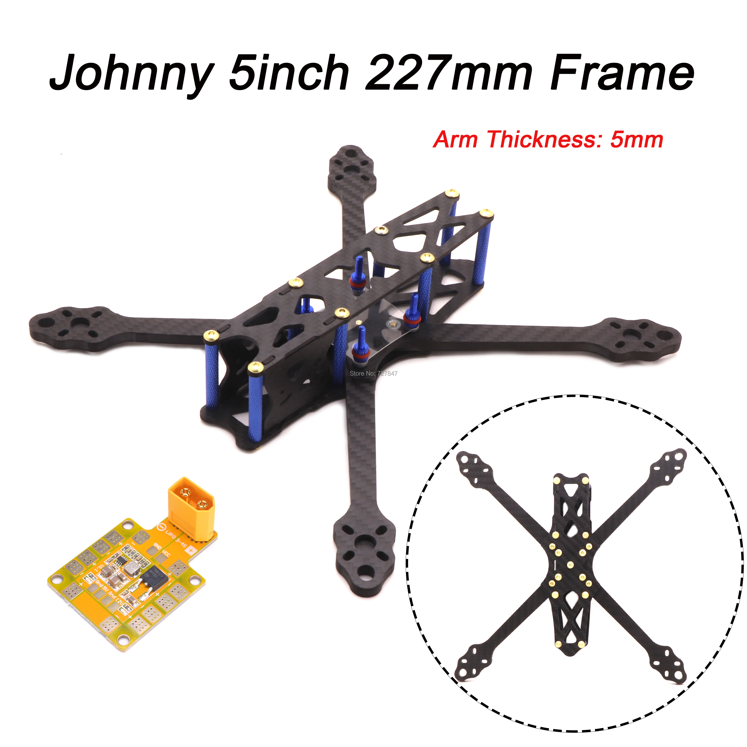 Johnny 2 5inch X5 230 Wheelbase 227mm With 5mm Arm Pure Carbon Fiber FPV Quadcopter Frame 5V / 12V PDB For FPV Racing Drone