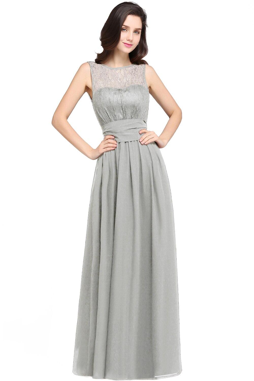 Chiffon Čipka Mint Zelená družička šaty Long 2017 A Line O krk - Šaty pro svatební hostiny - Fotografie 6
