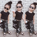 New arrival 2016 children's clothing black short design top t-shirt pants twinset child set  squirrel pants two-piece suits