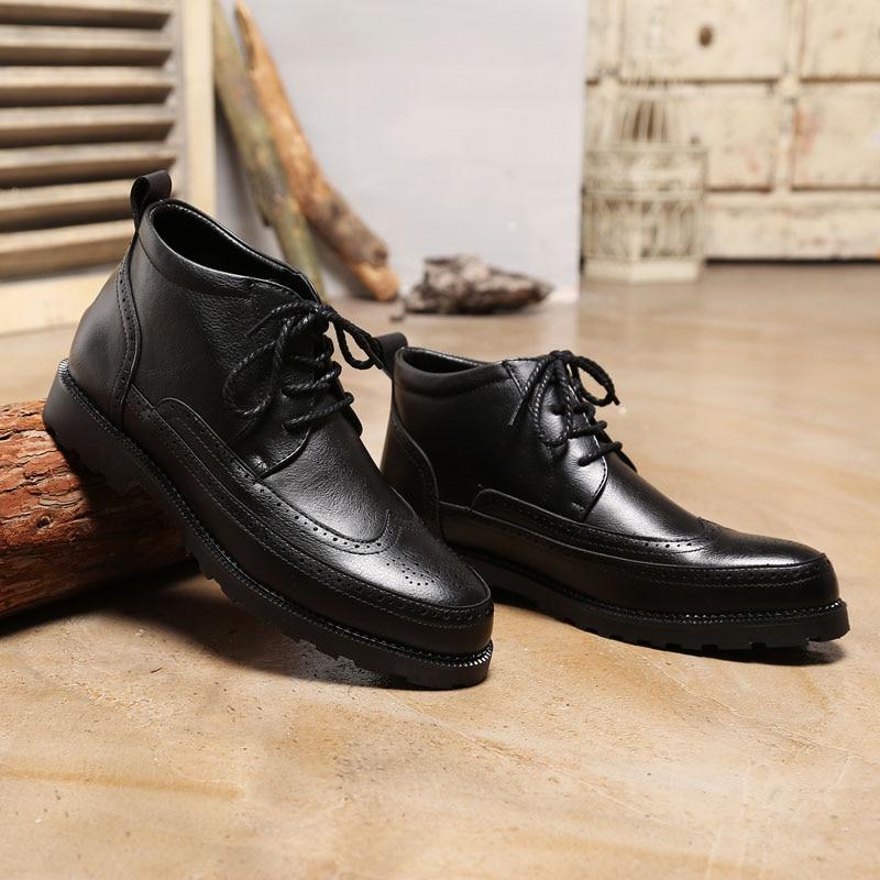 Couro Black brown De Mxz810832 gray Da Brogues Mens Botas Borracha Confortáveis Outono Homens Marca qXUxOPw1