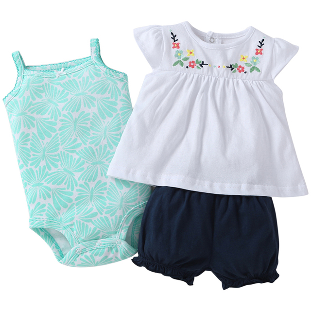 newborn baby girl clothes set sleeveless t-shirt tops+Romper+shorts 2019 summer outfit infant clothing new born suit fashion 3