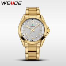WEIDE Casual Quartz Sports Wrist Watch Fashion Genuine Gold Men Brand Luxury Clock Analog Clock Stainless Steel Band white dial