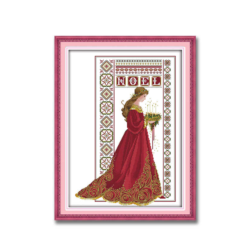 noel angel woman red girl home decor Painting Counted Print on canvas DMC 14CT 11CT Cross Stitch Needlework Kits embroidery Sets