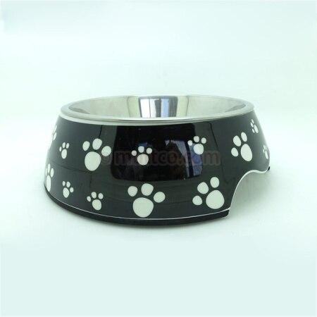 36pcs/lot L size detachable  antiskid Stainless steel black footprint pet feeder dog bowl DB-006