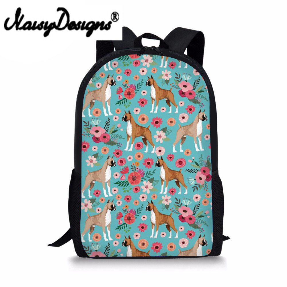 Schoolbag for Girls Boxer Floral Printed for Teenager Student Zoo Backpack Orthopedic Sc ...