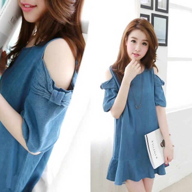 US $19.93 |Ruffles Off The Shoulder Denim Shirt Dress for Women Cute Summer  Ladies Denim Jean Dress Plus Size Blue Jeans Dresses vestidos-in Dresses ...