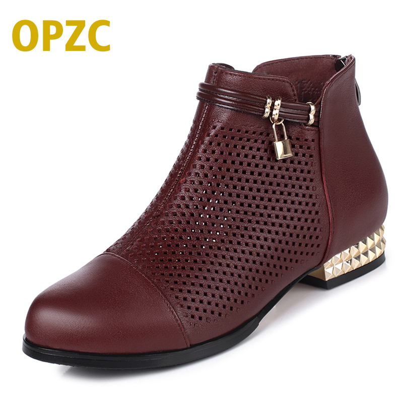 OPZC 2018 new, spring∑mer genuine leather women shoes. hollow with comfortable hollow puls size 42#43 # net shoes women red aiyuqi big size 41 42 43 women s comfortable shoes 2018 new spring leather shoes dress professional work mother shoes women
