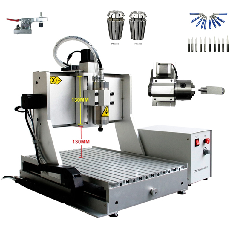 4axis mini cnc engraving machine 3040 800W spindle wood router with acceptable material thickness 130mm free cutter er11 collet camp bambino
