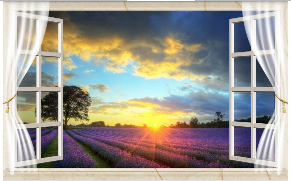 Custom 3d photo wallpaper 3d wall murals wallpaper for living room window lavender field, 3 d TV setting wall scenery 3d mural custom 3d stereo wallpaper murals window outside european scenery living room tv wall decoration painting papel de parede 3d