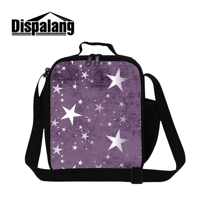 Dispalang Trendy Insulated Lunch Bag With Shoulder Straps Star Striped Kids Women Cooler Lunch Box Bag Picnic Totes Carry Case
