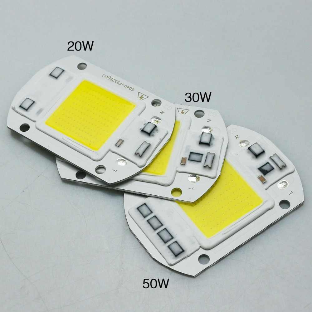 COB LED światła matrycy diody wysokiej mocy lampy inteligentny układ scalony 50W 30W 20W 110V 220V żarówki zewnętrzne dla DIY reflektor reflektor